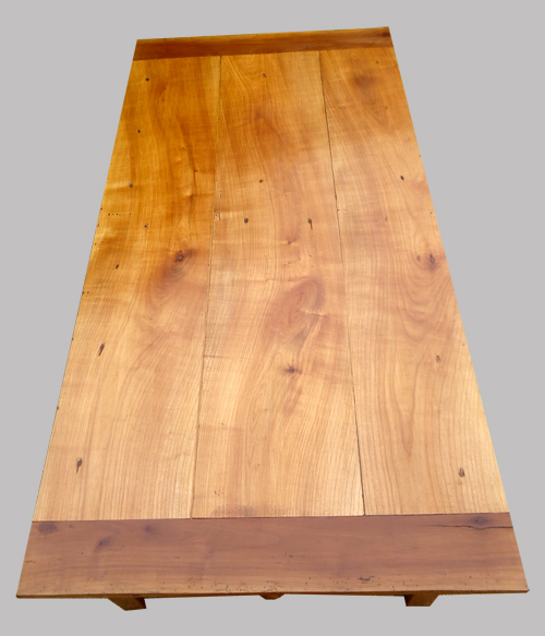 Table basse ancienne en merisier avec 2 tiroirs -> Plateau Merisier