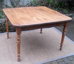 Authentique table ancienne carr e plateau ch ne et pieds - Table cuisine bois ...
