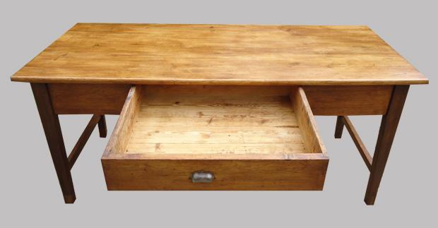 Table de ferme authentique en bois naturel avec 2 beaux tiroirs - Bureau avec grand tiroir ...