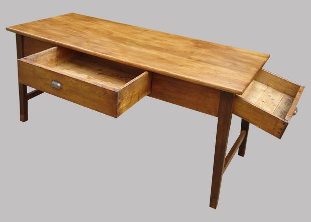 Table de ferme authentique en bois naturel avec 2 beaux for Table bois ancienne rectangulaire