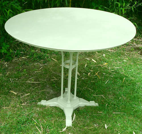 Grande table de jardin ann es 1930 plateau galvanis for Table en fer exterieur