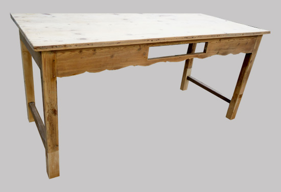 Jolie table ancienne peinte pour cuisine avec plateau en bois naturel - Table de cuisine ancienne ...