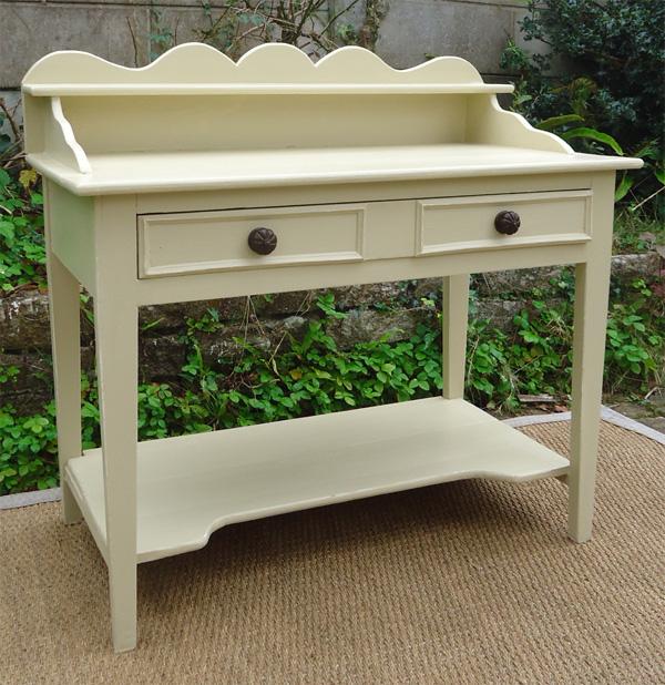 ancienne table de toilette en bois peint grand tiroir central. Black Bedroom Furniture Sets. Home Design Ideas