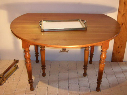 table ronde pied central chene massif 1 metre de diametre